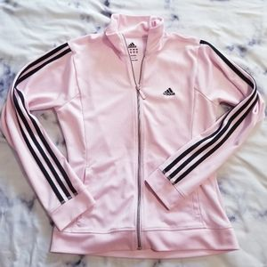 Adidas pink 3 stripe sweater